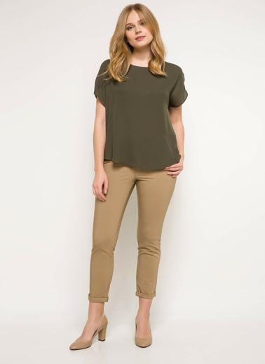 DeFacto Krep Bluz Yeşil